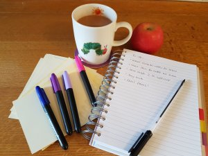 Tea and notebook